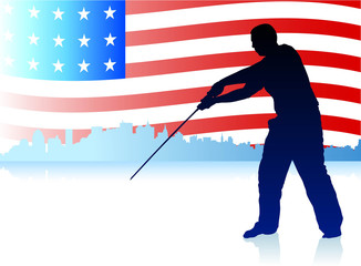 Karate Sensei with Sword on Skyline and USA Flag Background