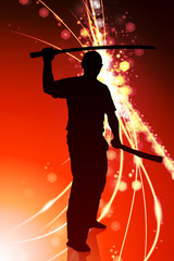 Karate Sensei with Sword on Abstract Light Background