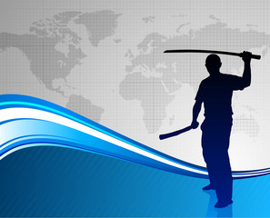 Karate Sensei with Sword on Abstract World Map Background