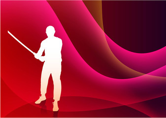 Karate Sensei with Sword on Abstract Violet Wave Background
