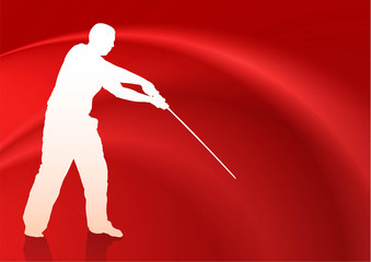 Karate Sensei with Sword on Flowing Silk Background
