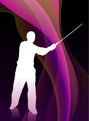 Karate Sensei with Sword on Flowing Purple Wave Background