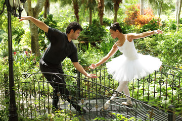 Ballet couple in the park