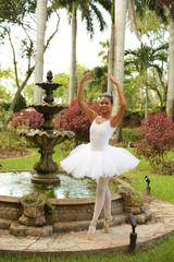 Ballerina in a garden
