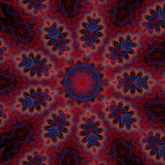 Red and Blue Fractal Flower