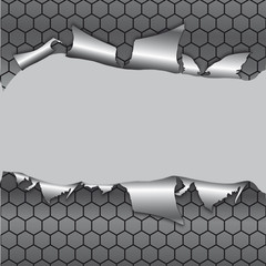 Hexagon metallic background under hole