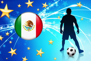 Mexico Soccer Player on Abstract Light Background