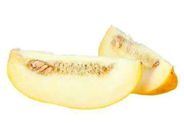 Two slice of ripe yellow melon