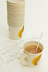 Coffee in  paper cup.