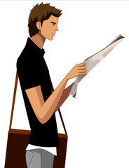 Side view of man holding newspaper