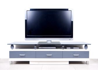 A modern white TV Cabinet on white blackground