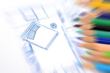 Color pencils and blueprint
