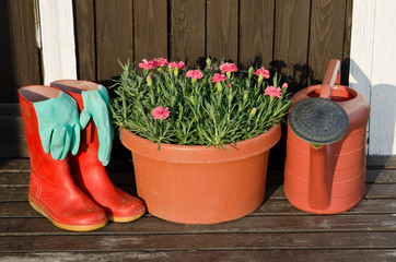 Garden tools - flower pot, watering can/ pot and rubber boots