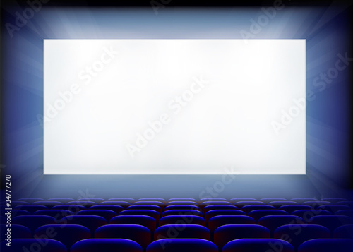 Projection screen in cinema. Vector illustration.