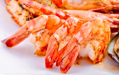 Shrimps and crabs a grill