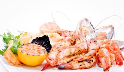Shrimps and crabs a grill