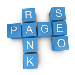 Pagerank SEO 3D crossword on white background