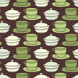Seamless Cup, saucer and sugar bowl background