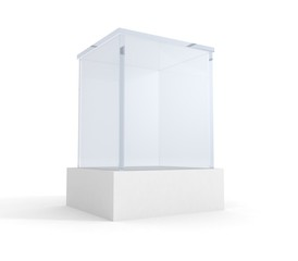 Empty exhibition or museum glass stand