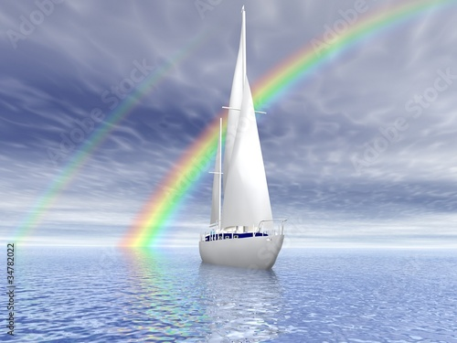 Sailing luxury yacht on beautiful seascape with rainbow