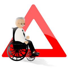 achtung senior mit rollstuhl