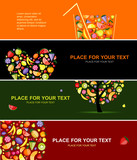 Fototapety Fruits banners horizontal for your design