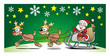 Santa with 2 Reindeers and Sledge on Green Background