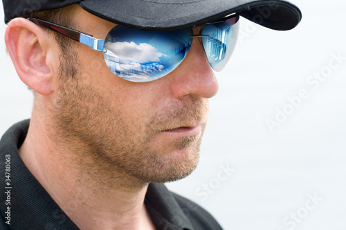 man stubble sunglasses