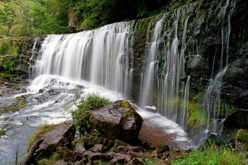 waterfall on Mellte river, Brecon Beacons national park, Wales