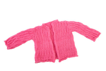 Knitted jacket for the baby isolated