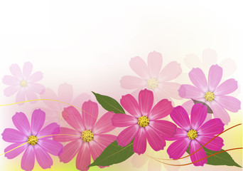 Background with beautiful color flowers. Vector illustration.