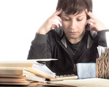 Woman Concentrating while Paying Bills