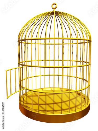 goldener vogelkäfig mit offener Tür