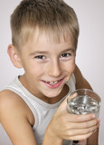 boy with a glass of water