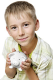 boy with big piggy bank