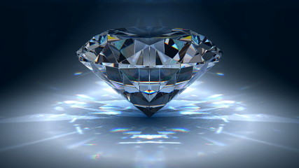 Diamond jewel on blue background