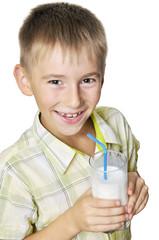 boy with milkshake