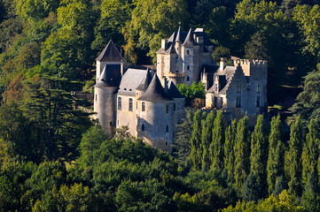 Feyrac castle near the Dordogne river in the morning light