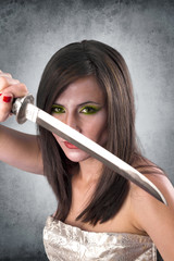beautiful female warrior holding katana sword
