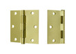 open and closed square corner brass hinge