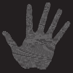 Privacy hand silhouette, vector