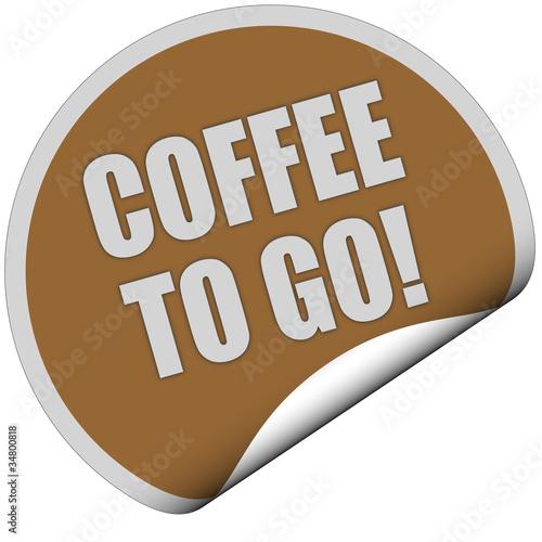 Sticker braun rund curl unten COFFEE TO GO