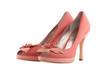 Пара оранжевых туфлей на каблуке