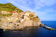 Village of Manarola on the coast of Italy at sunset