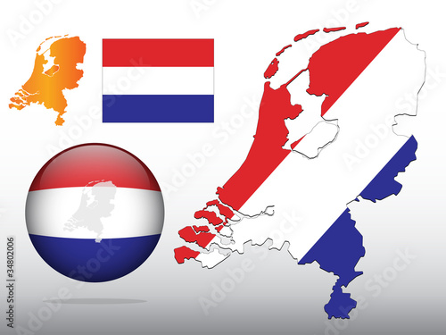 Vector illustration of Dutch map and ball with flag pattern