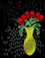 Vase of Roses with Abstract Background