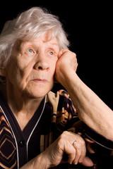 Portrait of old woman a black