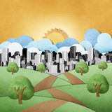 Fototapety road view recycled paper craft