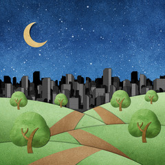 road to the city recycled papercraft background