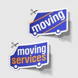Moving services labels poster